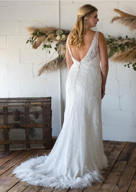 Wedding Dress with Feather Detail